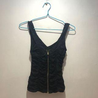 Basic Black Laced Zipped Top