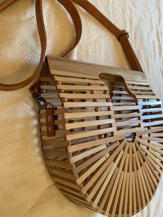 Rattan Beach Bag with sling