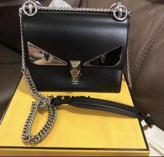 [Preowned] Fendi Kan I Small Bag Bugs Black Leather Mini Bag