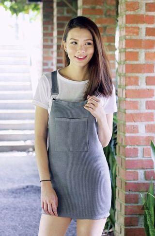 Front Pocket Dungaree Dress