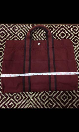 d3103e90f Authentic Hermes fourre tout mm hand tote cotton canvas bag