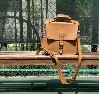 Saddleback full grain genuine leather messenger, tan