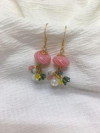 🚚 全新手作原創耳環✨和風春日玻璃球耳環🌺