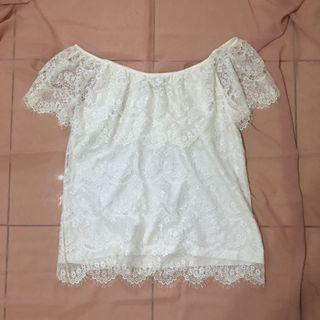 White Lace sabrina top