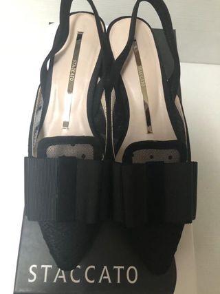 Staccato mesh kitten heels
