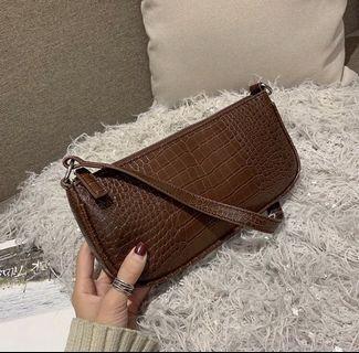 Vintage Croc Handbag (Brown)