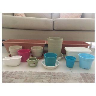 Colourful Plant pots (12 pieces)