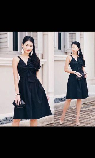 🚚 MIKAYLA BOW DRESS (BLACK)