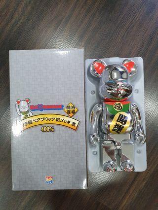 Silver Manekineko Lucky Cat 400% Bearbrick