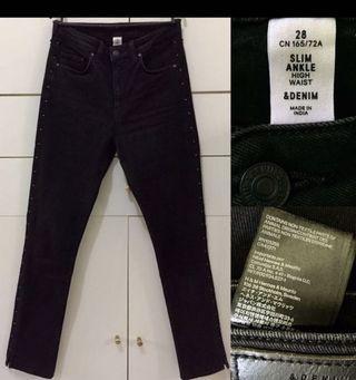 H&M Highwaist Black Trouser Celana.