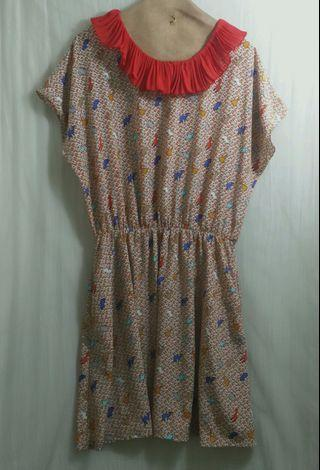 🚚 小清新童趣絲緞感洋裝