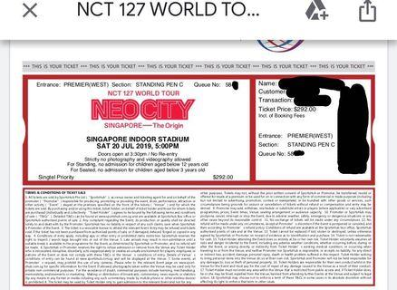 wts nct 127 neocity in sg concert ticket