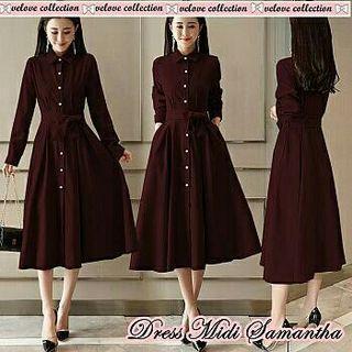 vl dress midi samantha maroon