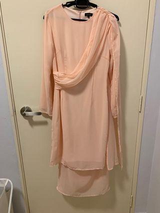 ZALIA Baju Kurung - Draped Sash Tunic Set