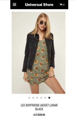 Lee black boyfriend denim jacket new with tags  size 10