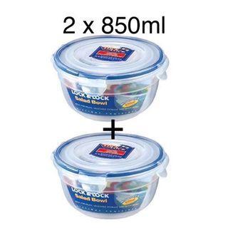 2 x Lock & Lock Stackable Airtight Salad Bowl 850ml (HSM944)