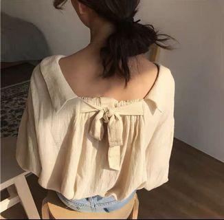 古著 復古棉麻襯衫 後綁帶襯衫上衣 燈籠袖防曬外套