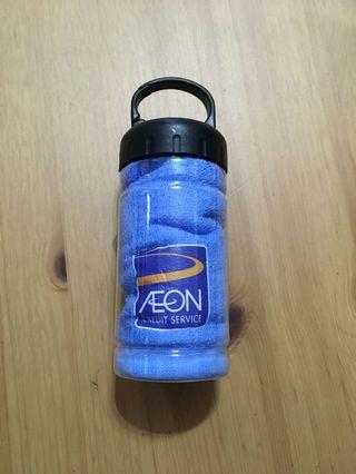Towel with container