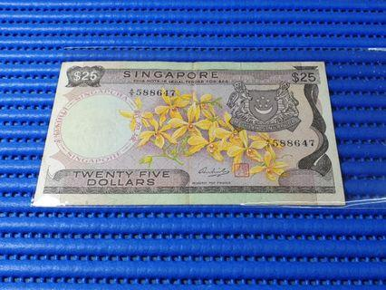 588647 Singapore Orchid Series $25 Note A/9 588647 Dollar Banknote Currency