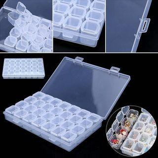 28 Slots Clear Plastic Storage Organizer Container Box