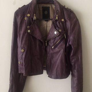 80/20 Salad 品牌系列洗舊感紫色皮衣外套 尺寸 S/XS