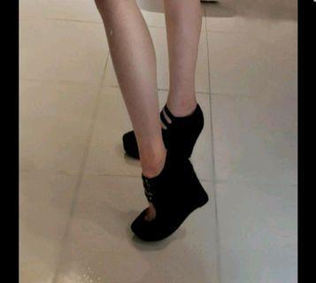 黑色 楔型高跟鞋 41號 大尺碼 巴黎專櫃正版品牌 michel klein 古著 高跟鞋 馬麗珍