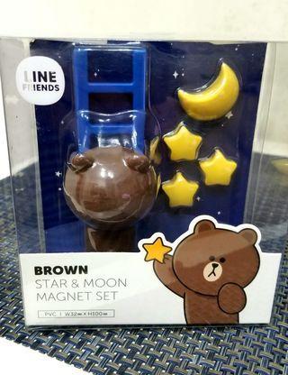 Line Brown Star and Moon Magnet Set (全新) *清屋*