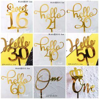 Numbers Acrylic Cake Topper