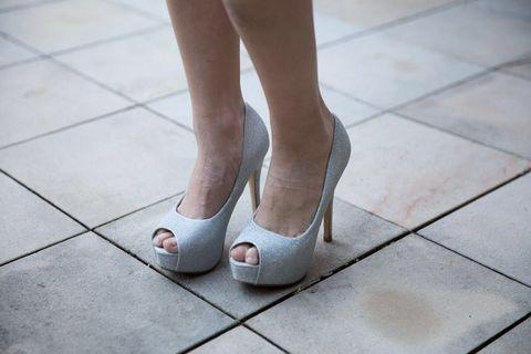Sparkly silver platform peep toe heels worn once. Size 6