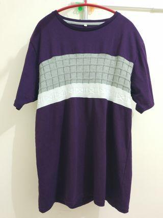 ikka dark purple top/tee 深紫色上衣 拼接布料
