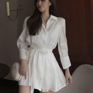 [Preorder] Satin White Flowing Shirt Dress Free Size (comes with matching slash, shorts and tube)