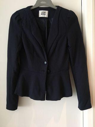 Navy peplum blazer size 4