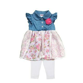 [Free Shipping] New with tag! Premium Branded NANNETTE BABY Kids Girl Soft Jeans Lace Dress and Leggings 2 pcs Set (2T)
