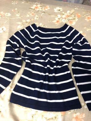 🚚 藍條紋配色針織上衣