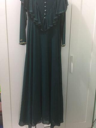 Minaz Dress / Jubah with cape & beaded