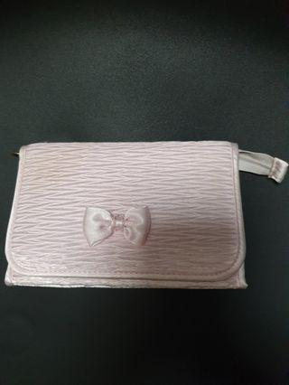 Naraya Baby Pink Textured Cosmetic Pouch