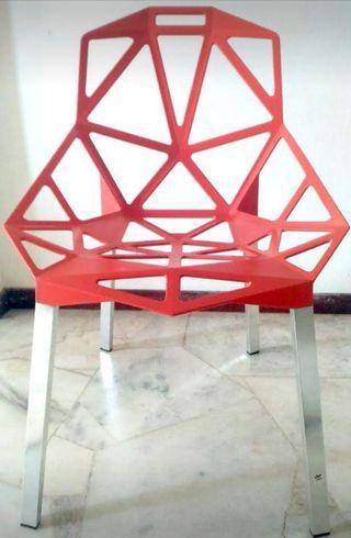 Geomatrical Designer Chair Red