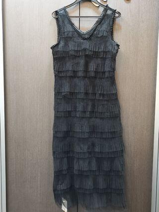 Tiered ruffles layer black long Dress chic Korea style