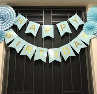 Happy Birthday Bunting Banner. Blue Party Fans. Paper Fans
