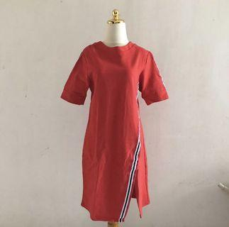 Red stripes casual dress