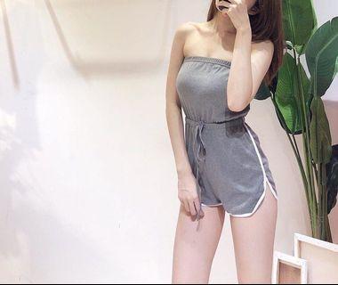 🚚 (徵收文)平口運動風連身褲