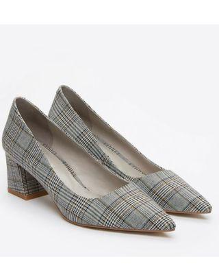 Pazzion Grey Checkered Pointed Heels