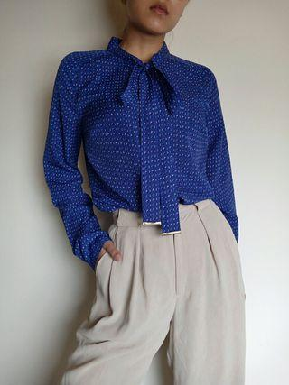 古著 復古滿版 寶藍色小方塊綁帶襯衫