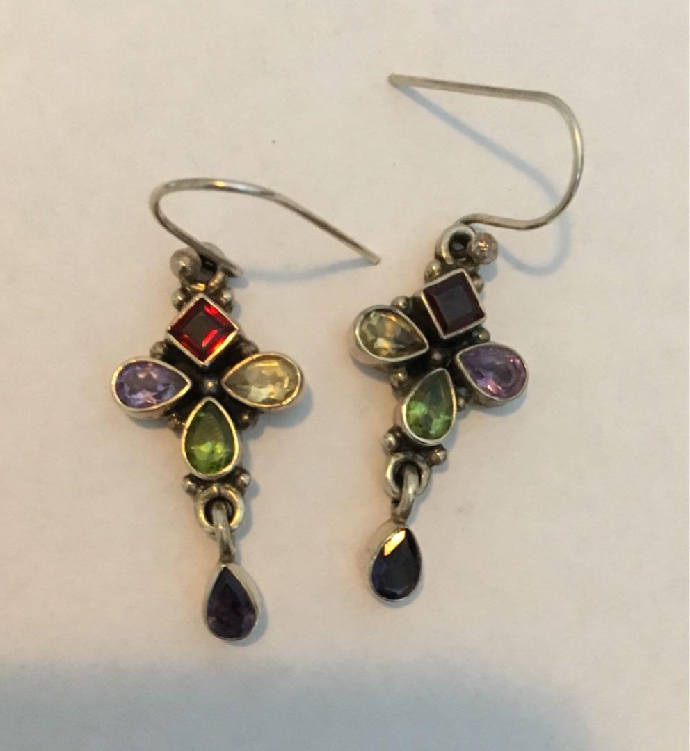 antique style genuine gemstone sterling silver earrings