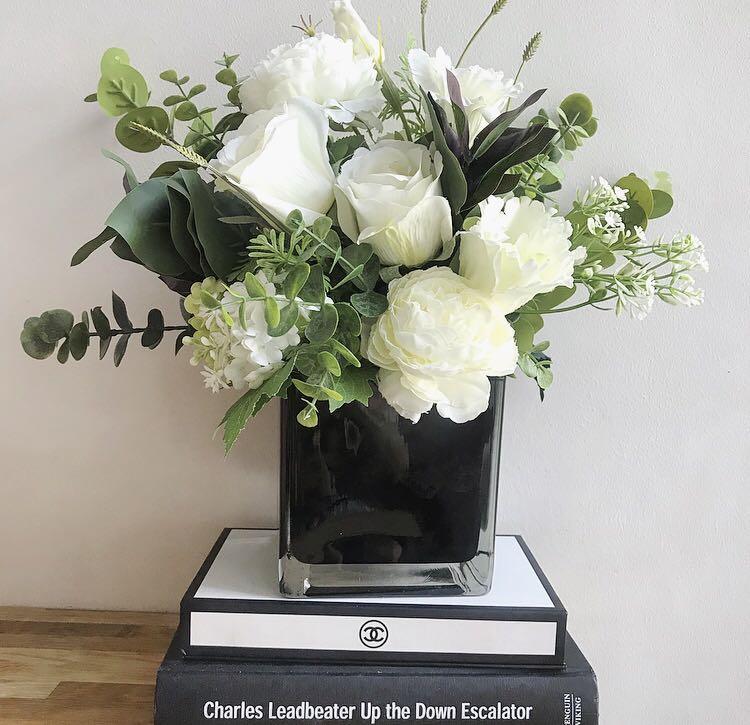 Artificial Flower Arrangement In Black Glass Vase Gardening Flowers Bouquets On Carousell