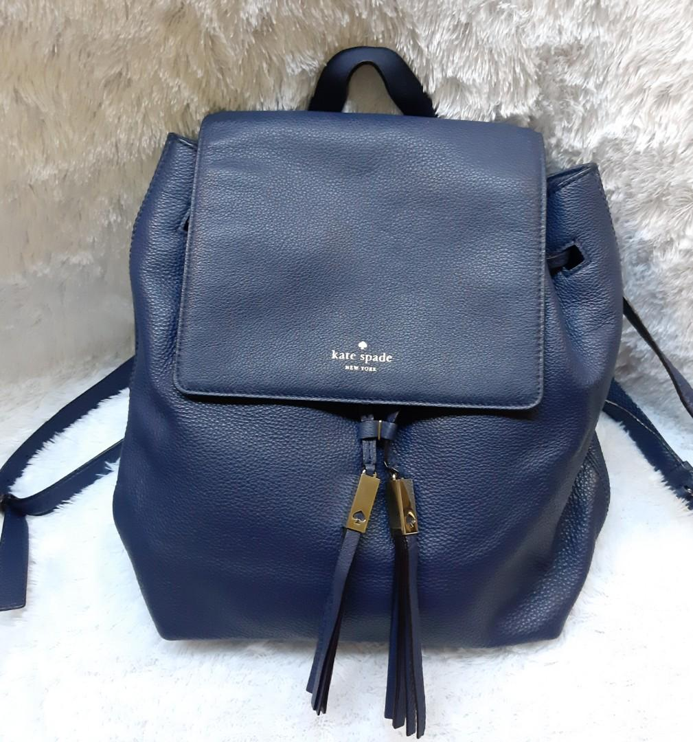 Authentic Kate Spade Mulberry Street Large Breezy BackPack in Blue Navy Leather💜🧡💛