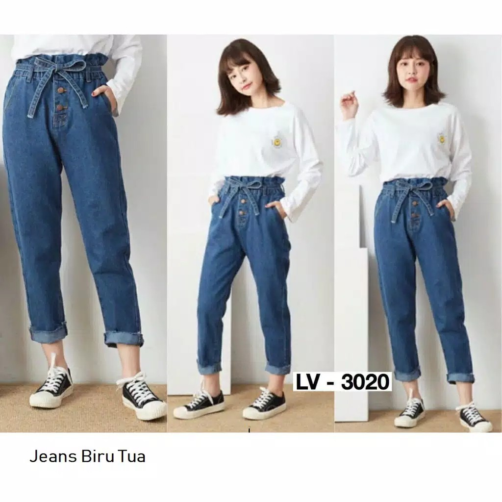 Celana Boyfriend Jeans Wanita Pinggang Karet Bf Jeans Karet Boyfriend Polos Kekinian Fesyen Wanita Pakaian Wanita Bawahan Di Carousell