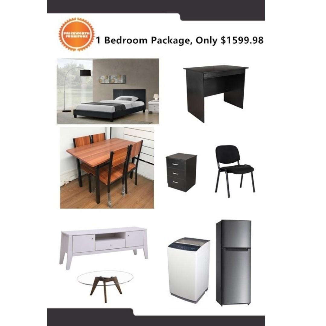Complete Bedroom Package with Fridge and Washing Machine $1600