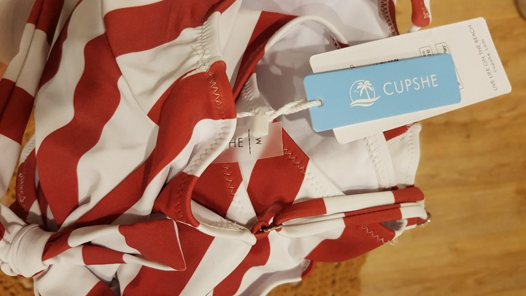 Cupshe One Piece Swimmers Red White Stripe AMAZING QUALITY