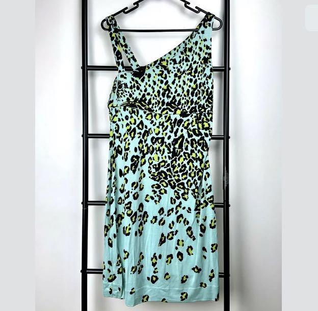 Diane Von Furstenberg sz 10 Silk blue green aqua leopard dress designer stretch